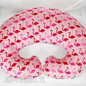 pokoik dziecka duża poduszka do karmienia - flamingi, rogal, poduszka, poducha