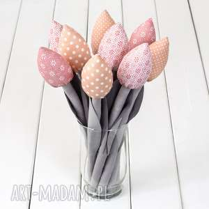 Prezent TULIPANY szaro pastelowo różowy bawełniany bukiet, tulipany, kwiaty
