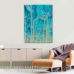 grafika turkusowe tulipany 60 x 80, minimalizm, nowoczesny obraz do salonu