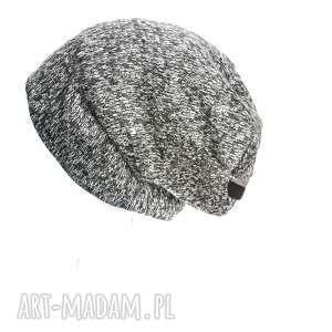czapka damska wełniana melanż ze srebrem, czapka, wełna, długa, hipster, zima, ciepła