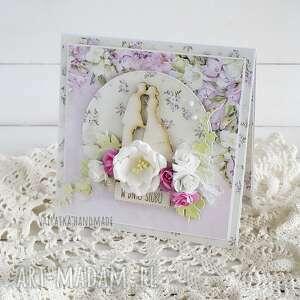 ręczne wykonanie scrapbooking kartki w dniu ślubu, kartka w pudełku, 609