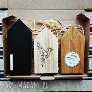 hand-made ceramika 3 domki drewniane