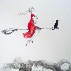 WIEDŹMA MÓL KSIĄŻKOWY praca akwarelą i piórkiem artystki Adriany Laube, akwarela