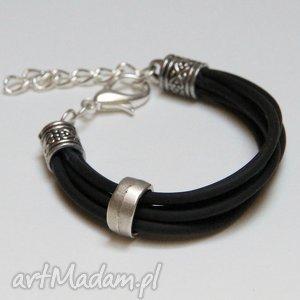 pomysł na prezent święta Czarna bransoletka z linki kauczukowej elementami