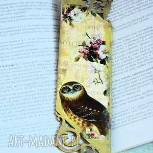 zakładki zakładka do książki - sowy, zakładka, drewno, ażurowa, sowa, decoupage