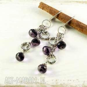 kwarc i krople fioletu, srebro-oksydowane, kwarc, kwarc-ametystowy,