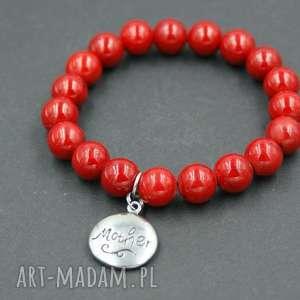 hand made bransoletka marmur czerwony w stali szlachetnej