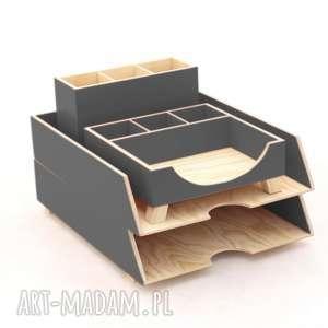 grafitowy przybornik do biura - organizer - zestaw biurkowy 4 elementy, biuro