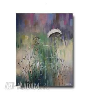 jesienne trawy-obraz akrylowy formatu 40/50 cm, pejzaż, akryl, pajęczyna, łąka