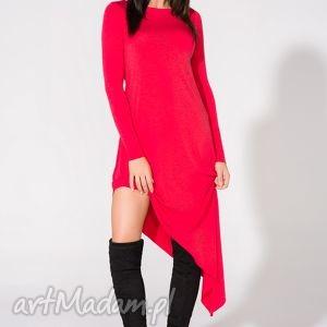sukienka asymetryczna, t152, czerwona, sukienka, dzianina, wiskoza, asymetryczna