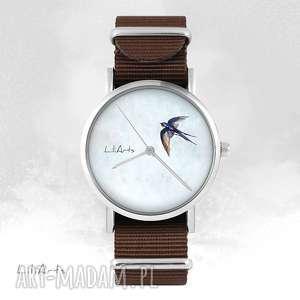 hand made zegarki zegarek - jaskółka brązowy, nato