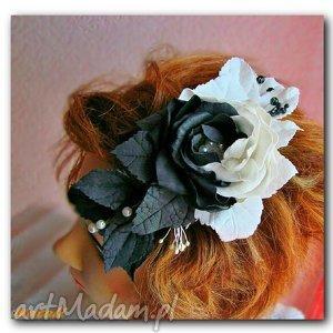bialo -czarne kwiaty grzebyk do włosów, foamiran, kwiaty, wlosy, czarno, biale