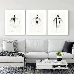 plakaty zestaw 3 grafik 30x40 cm wykonanych ręcznie, grafika czarno-biała, abstrakcja