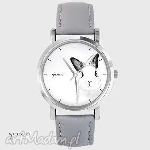 zegarki zegarek, bransoletka - królik szary, skórzany, królik, zając