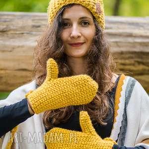 rękawiczki pikantna musztarda, rękawiczki, ciepłe, ze sznurkiem, na zime, old