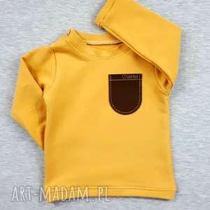bluza z kieszonką w kolorze ochre, dla dziecka, blaza kieszonką