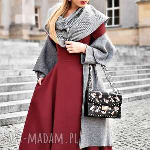 sukienka fler total midi bordo - midi, kieszenie, rozkloszowana, bordowa, sukienka