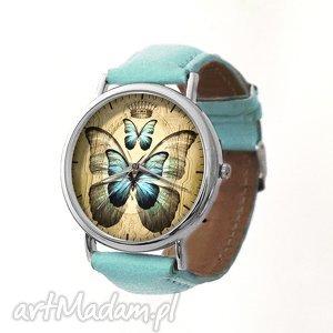 motyl - skórzany zegarek z dużą tarczą egginegg, pastelowy