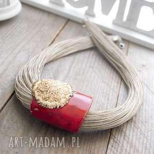naszyjnik lniany turna - naszyjnik, lniany, ceramiczny, czerwony, prezent, unikatowy