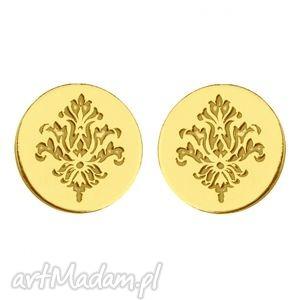 złote kolczyki kółeczka z rozetką - pozłacane
