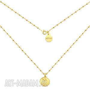Złoty naszyjnik z medalikiem, naszyjnik, medalik, zółte, złoto, łańcuszek, modowy