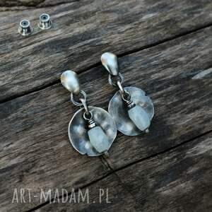 bryłki akwamarynu - kolczyki iii, akwamaryn, ze srebra, srebro