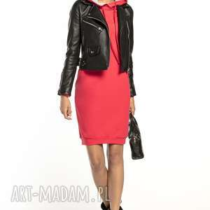 TESSITA! Sportowa sukienka z kapturem, T292, koral jasnoszary