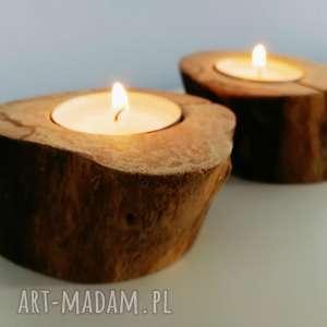 zestaw 2 świeczniki drewno - ,świeczniki,świecznik,drewno,skandynawskie,