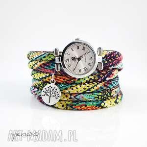 zegarek, bransoletka - kolorowy boho - owijany - zegarek, rzemienie, owijana, boho, wzorki