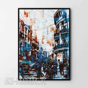 plakat obraz blue city 50x70 cm b2, abstrakcja, obraz, ramka, plakat