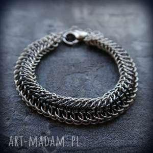 Męska aluminiowa bransoleta chainmaille Smoczy Grzbiet, chainmaille, kolczuga