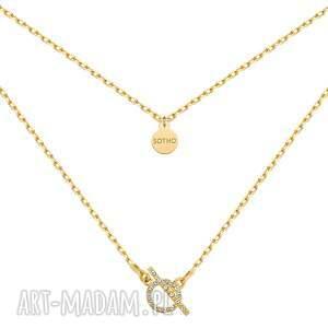 hand-made naszyjniki złoty naszyjnik z ozdobnym zapięciem kryształkami swarovski®