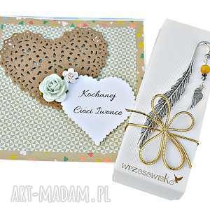 zakładki zestaw prezentowy dla nauczycielki - zakładka skrzydłko i kartka
