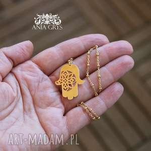Marokańskie inspiracje pozłacany amulet ręka fatimy naszyjniki