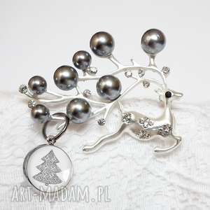 ręcznie zrobione upominki świąteczne broszka refiner z perlami i cyrkoniami z zawieszką