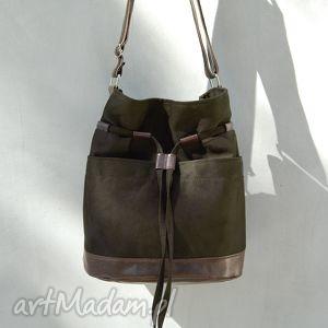 handmade na ramię yocca - torba worek khaki i brąz