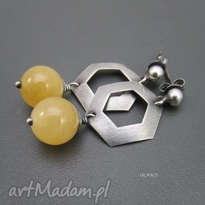 kolczyki nefryt na sztyftach, nefryt, srebro, biżuteria