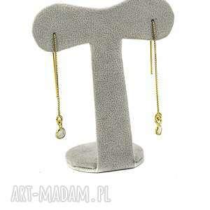 kolczyki z kamieniem księżycowym, kamień księżycowy, srebro 925, złocone