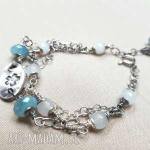 Bransoletka z błękitnego kwarcu, srebro, oksydowane, kobieca, lekka, delikatna, tilia