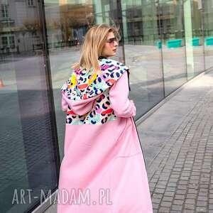 mega długa bluza nepal różowy, kurtka w printy, bluza, płaszcz