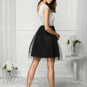Sukienka tiulowa biało/czarna FAL, wesele, studniówka, wieczorowa, impreza