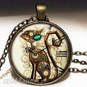 ręcznie zrobione naszyjniki steampunkowy kot - duży medalion z łańcuszkiem
