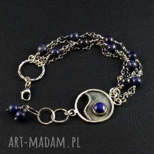 lapis, srebrna bransoletka, srebro 925, lapis lazuli, prezent, komplet