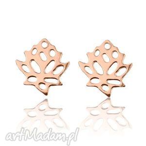 kolczyki kwiaty lotosu z różowego złota sotho - różowe złoto