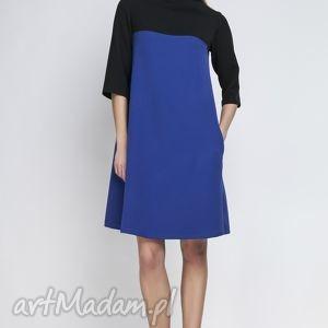 Sukienka, SUK121 indygo, półgolf, kieszenie, casual, kontrafałda, kontrast, midi