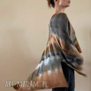 elegancka narzutka w kolorach ziemi, ponczo, tunika, sweter, narzutka, wełna