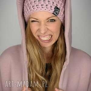 czapka mono 14 - jasna różowa, czapka, zima, wełna, włóczka, szydełko, czapa