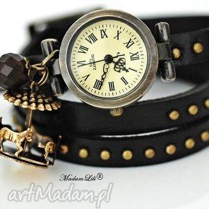 bransoletki romantyczny zegarek karuzela, vintage, zegarek, skóra, jaspis