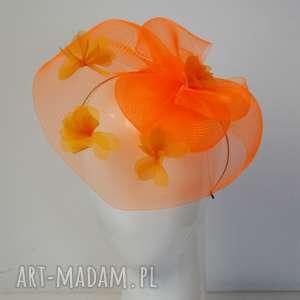 pomarańczowy fascynator, toczek, pomarańczowy, jedwab, kwiaty