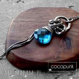 srebro, kwarc swiss blue- dŁugi, nowoczesny naszyjnik - niebieski, turkusowy, prezent